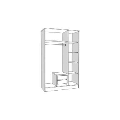Matis Τρίφυλλη Ντουλάπα Με 2 Συρτάρια & Καθρέφτη