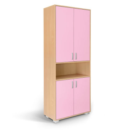 Matis Bambi Δίφυλλη Ντουλάπα Με Βιτρίνα Ροζ