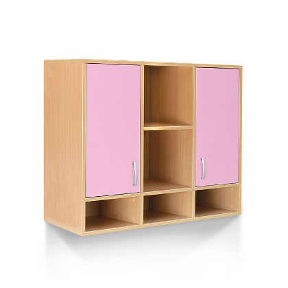 Matis Bambi Παιδική Ραφιέρα Με 2 Ντουλάπια Ροζ