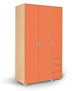 Matis Bambi Τρίφυλλη Παιδική Ντουλάπα Πορτοκαλί