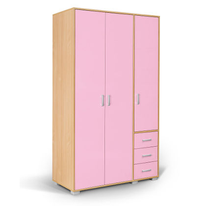 Matis Bambi Τρίφυλλη Παιδική Ντουλάπα Ροζ