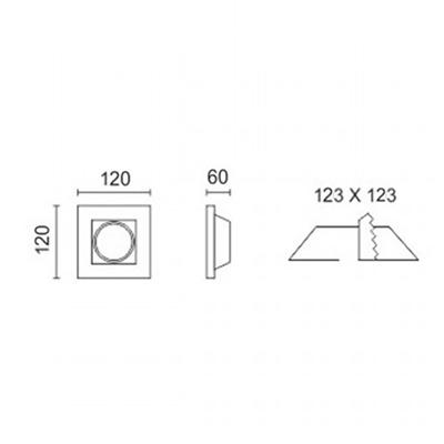 Spotlight 5629 Φωτιστικό Σποτ Χωνευτό Τετράγωνο Γύψινο Σταθερό Βαθύ 230V