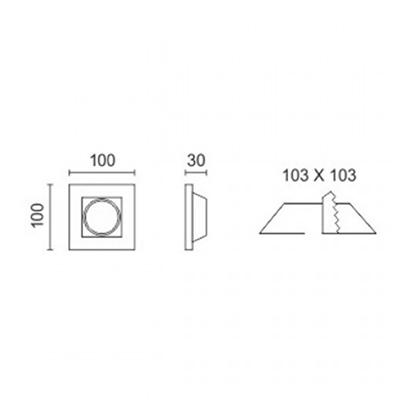 Spotlight 5631 Φωτιστικό Σποτ Χωνευτό Τετράγωνο Γύψινο Σταθερό 230V