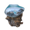 Ρίζα Ξύλινη με φυσητό γυαλί (μικρό), 20x20x15εκ, Χρώμα φυσικό