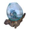 Ρίζα Ξύλινη με φυσητό γυαλί (μεσαίο), 20x20x25, Χρώμα φυσικό