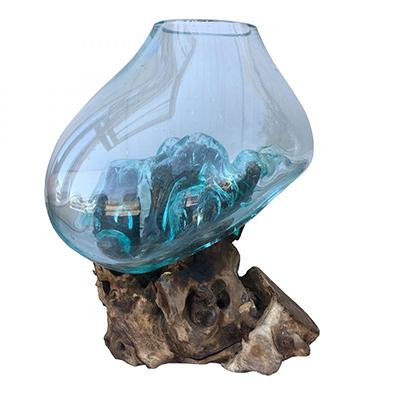 Ρίζα Ξύλινη με φυσητό γυαλί (μεγάλο), 25x25x45εκ, Χρώμα φυσικό