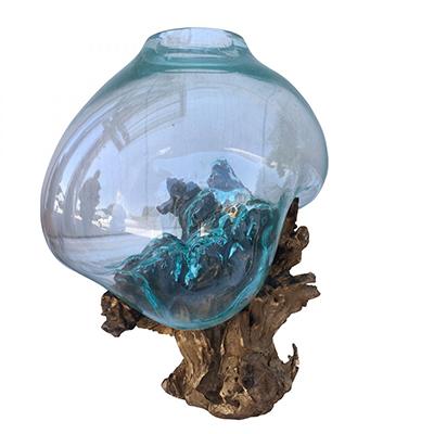 Ρίζα Ξύλινη με φυσητό γυαλί (xlarge), 35x35x55εκ, Χρώμα φυσικό