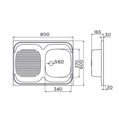 Matis Metalac Μονός Μεταλλικός Νεροχύτης 60x80x16,5Cm