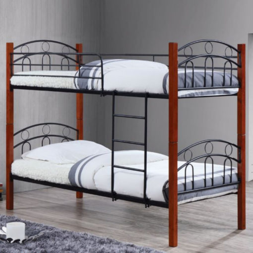 NORTON-Κρεβάτι-Κουκέτα-97x201x160cm-μαύρο-καρυδί