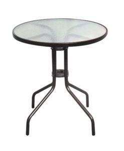 BALENO Μεταλλικό Τραπέζι Με Γυαλί 60x70cm