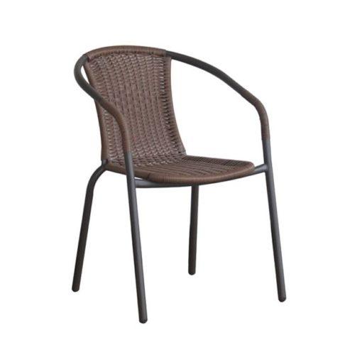 BALENO Πολυθρόνα Με Μεταλλικό Σκελετό & Επένδυση Wicker 53x58x77cm