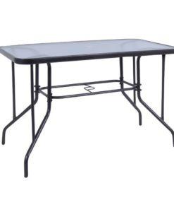 BALENO Μεταλλικό Τραπέζι Με Γυαλί 110x60x71cm